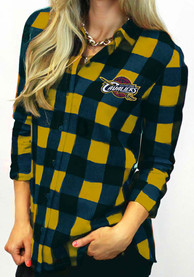 Gameday Couture Cleveland Cavaliers Womens Navy Blue Buffalo Check Dress Shirt