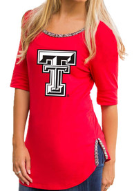 Gameday Couture Texas Tech Red Raiders Womens On With The Show Red Scoop T-Shirt