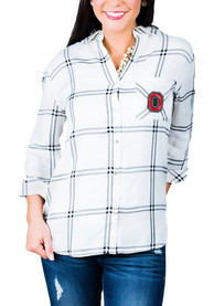Ohio State Buckeyes Womens Gameday Couture Wild About Plaid Dress Shirt - White
