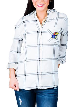 Gameday Couture Kansas Jayhawks Womens White Wild About Plaid Dress Shirt