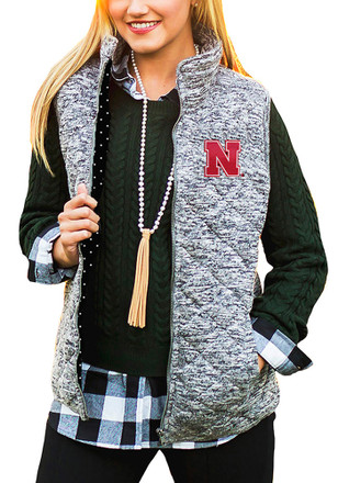 Gameday Couture Nebraska Cornhuskers Womens Grey City Chic Vest