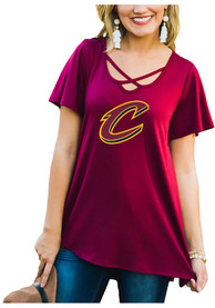 Cleveland Cavaliers Womens Gameday Couture Cross the Line Scoop Neck T-Shirt - Red