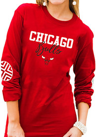 Chicago Bulls Womens Gameday Couture Pride Patch Crew Neck T-Shirt - Red
