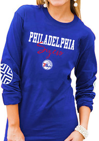 Philadelphia 76ers Womens Gameday Couture Pride Patch Crew Neck T-Shirt - Blue