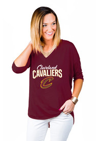 Cleveland Cavaliers Womens Gameday Couture Weekender Dropped Hem V Neck T-Shirt - Red