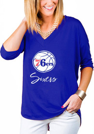 Philadelphia 76ers Womens Gameday Couture Weekender Dropped Hem V Neck T-Shirt - Blue