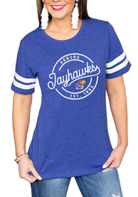 Kansas Jayhawks Womens Gameday Couture Just My Stripe Crew Neck T-Shirt - Blue