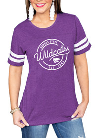 K-State Wildcats Womens Gameday Couture Just My Stripe Crew Neck T-Shirt - Purple
