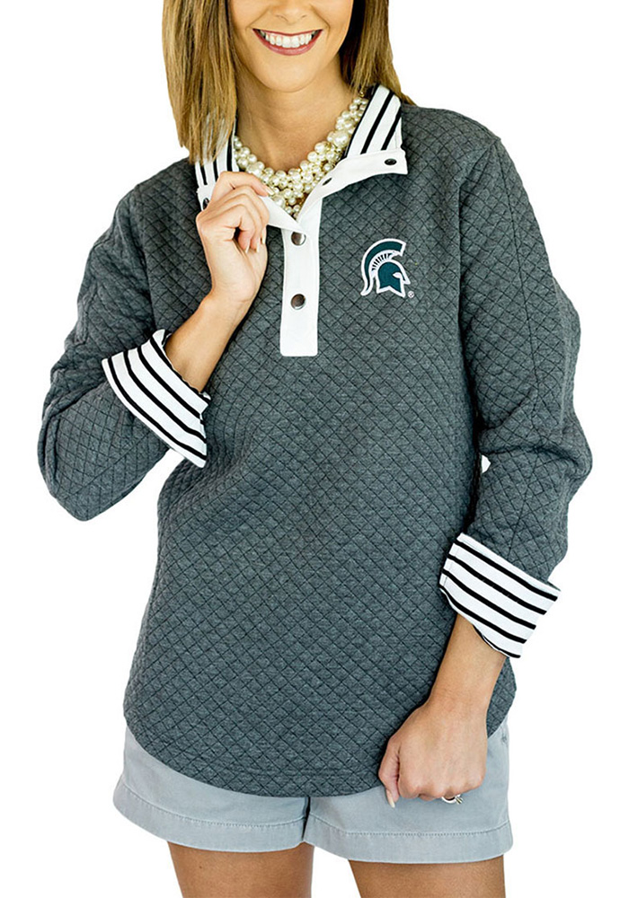 Gameday Couture Michigan State Spartans Womens Grey Out of your League 1/4 Zip Pullover - Image 1