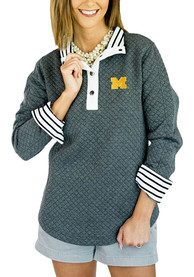 Michigan Wolverines Womens Gameday Couture Out of your League 1/4 Zip Pullover - Charcoal