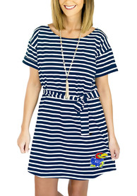 Kansas Jayhawks Womens Gameday Couture Pretty Little Things Striped Dress - Navy Blue
