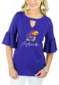 Gameday Couture Kansas Jayhawks Womens Blue Ruffle and Ready Key Hole Neck T-Shirt
