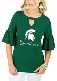 Gameday Couture Michigan State Spartans Womens Green Ruffle and Ready T-Shirt