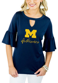 Gameday Couture Michigan Wolverines Womens Navy Blue Ruffle and Ready T-Shirt