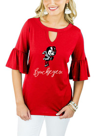 Gameday Couture Ohio State Buckeyes Womens Red Ruffle and Ready Key Hole Neck T-Shirt