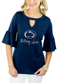 Gameday Couture Penn State Nittany Lions Womens Navy Blue Ruffle and Ready T-Shirt