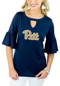 Gameday Couture Pitt Panthers Womens Navy Blue Ruffle and Ready Key Hole Neck T-Shirt