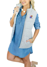 Kansas Jayhawks Womens Gameday Couture Hide and Chic Convertible Vest - Grey