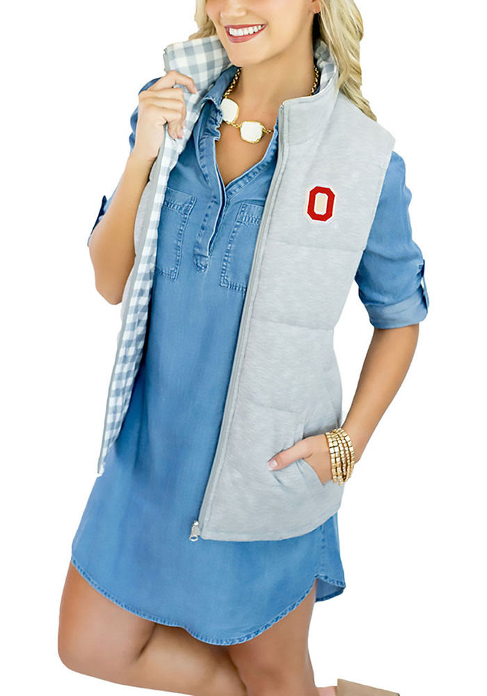 Gameday Couture Ohio State Buckeyes Womens Grey Hide and Chic Convertible Vest - Image 1