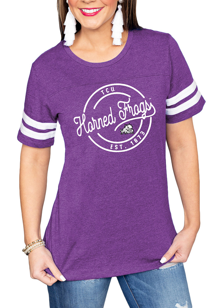 Gameday Couture TCU Horned Frogs Womens Purple Just My Stripe Crew Neck Short Sleeve T-Shirt - Image 1