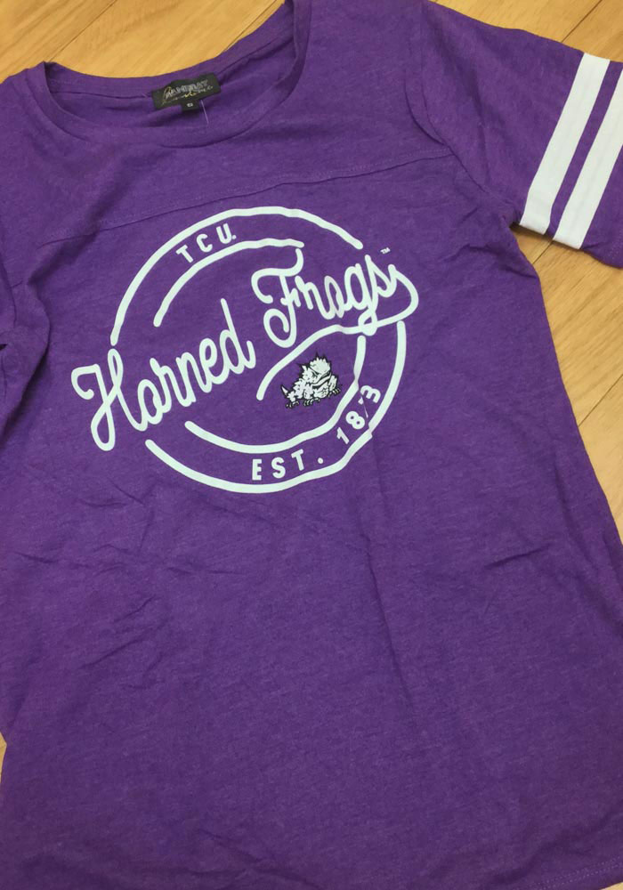 Gameday Couture TCU Horned Frogs Womens Purple Just My Stripe Crew Neck Short Sleeve T-Shirt - Image 2