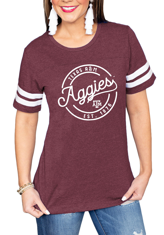 Gameday Couture Texas A&M Aggies Womens Maroon Just My Stripe Crew Neck Short Sleeve T-Shirt - Image 1