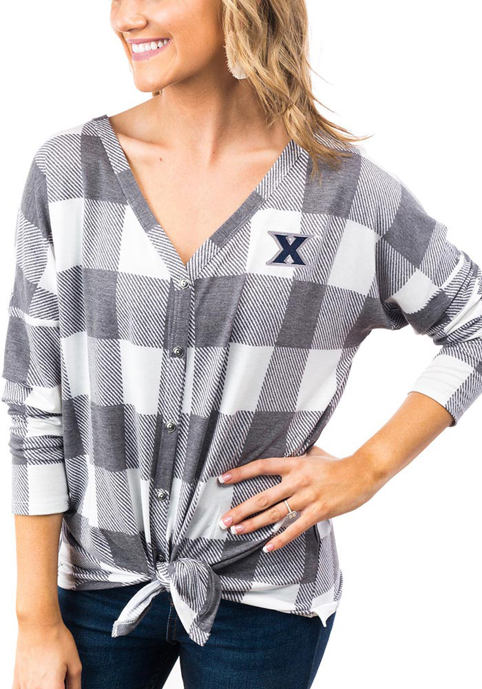 Gameday Couture Xavier Musketeers Womens Check Your Facts Long Sleeve White Dress Shirt - Image 1