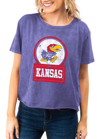 Kansas Jayhawks Womens Gameday Couture Keep It Cropped T-Shirt - Blue
