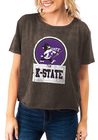 K-State Wildcats Womens Gameday Couture Keep It Cropped T-Shirt - Black