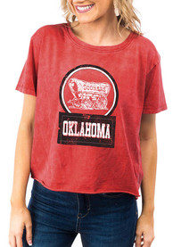 Oklahoma Sooners Womens Gameday Couture Keep It Cropped T-Shirt - Crimson