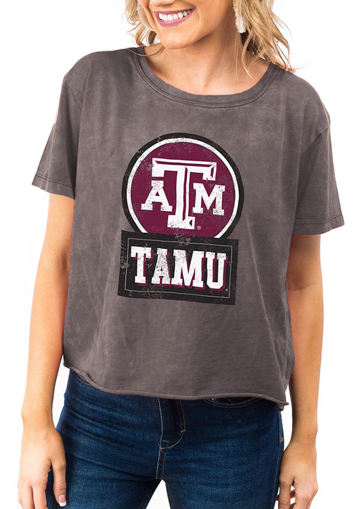 Gameday Couture Texas A&M Aggies Womens Grey Keep It Cropped Short Sleeve T-Shirt - Image 1