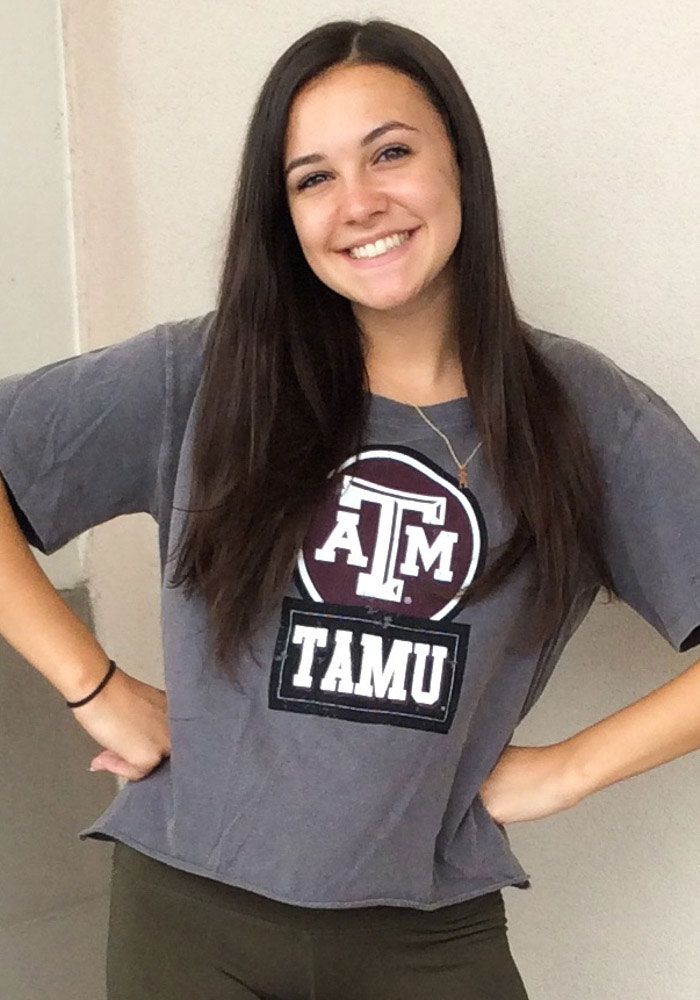 Gameday Couture Texas A&M Aggies Womens Grey Keep It Cropped Short Sleeve T-Shirt - Image 2