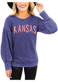 Kansas Jayhawks Womens Gameday Couture Good Going Crew Sweatshirt - Blue