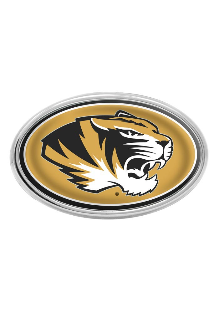 Missouri Tigers Gold Domed Oval Car Accessory Car Emblem - Image 1