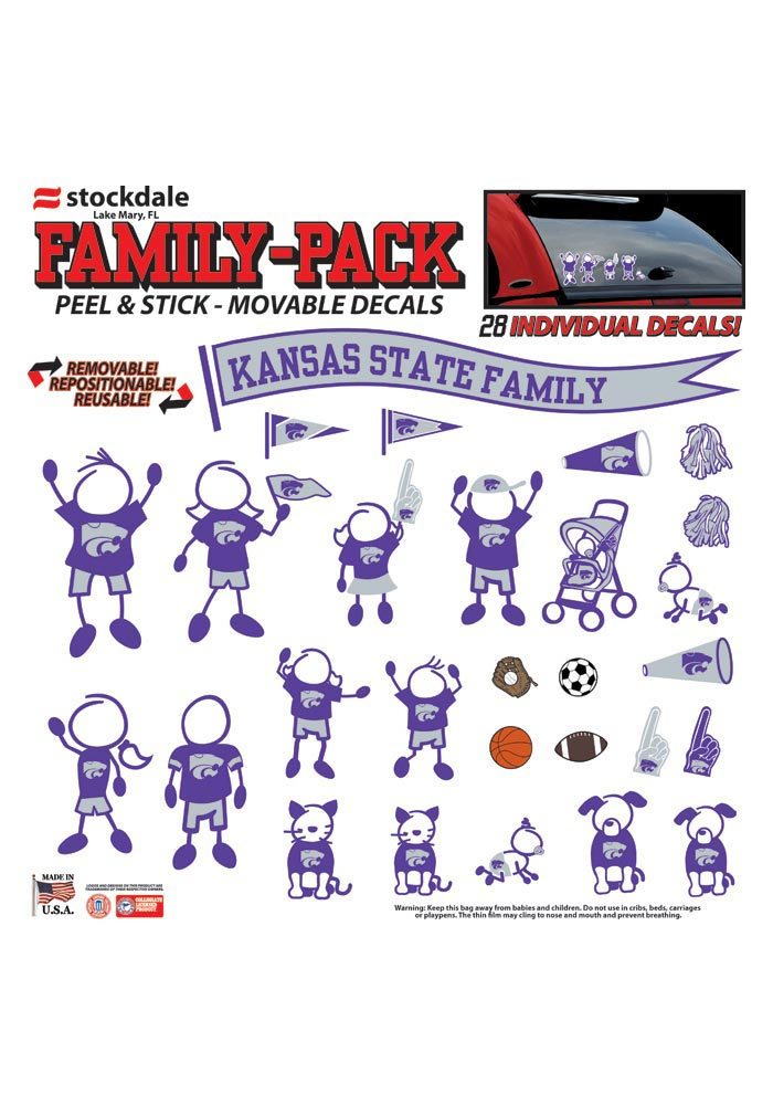 K-State Wildcats 12x12 Family Pack Auto Decal - Purple