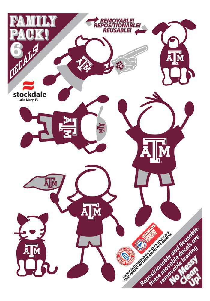 Texas A&M Aggies Family Pack Auto Decal - Maroon