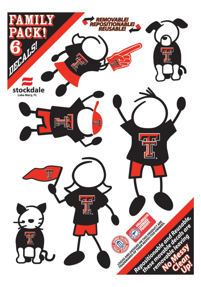Texas Tech Red Raiders 5x7 Family Pack Auto Decal - Black