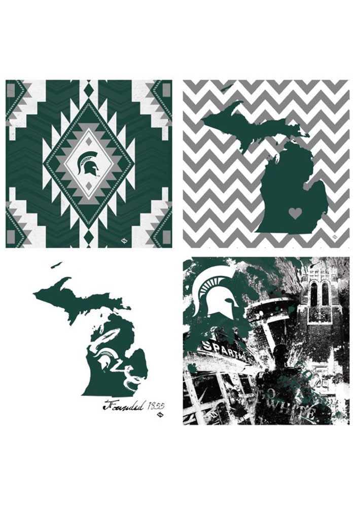 Michigan State Spartans 4 Pack Art Coasters Coaster - Image 1