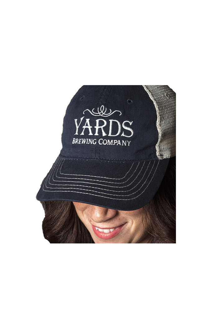 Yards Brewing Co. Navy & Stone Mesh Embroidered Snapback Hat - Image 1