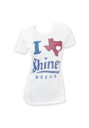 I (Heart/Texas) Shiner Beers Womens White T-Shirt