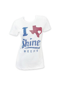 Shiner Beers Womens White I Texas Heart Shiner Short Sleeve T Shirt