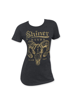 Shiner Beer Ram Horns Womens Black T-Shirt