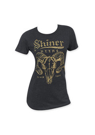 Shiner Beers Womens Black Ram Horns Short Sleeve T Shirt