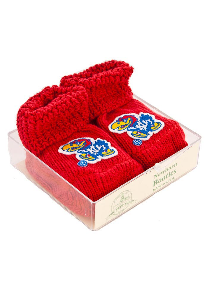 Kansas Jayhawks Knit Baby Bootie Boxed Set - Image 1