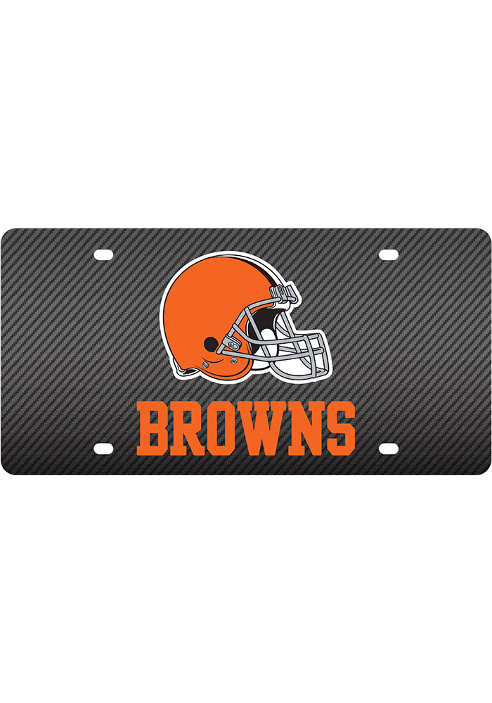 Cleveland Browns Carbon Car Accessory License Plate - Image 1