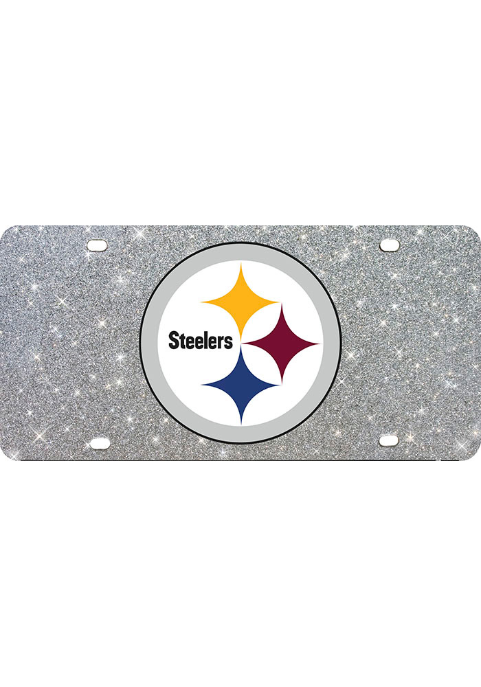 Pittsburgh Steelers Glitter Car Accessory License Plate - Image 1