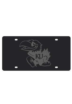 Kansas Jayhawks Carbon Fiber Mascot Car Accessory License Plate