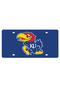 Kansas Jayhawks Logo on Blue Car Accessory License Plate