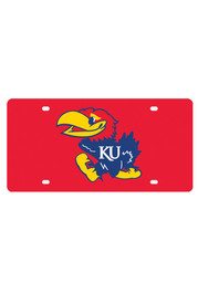 Kansas Jayhawks Logo on Red Car Accessory License Plate