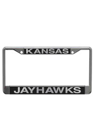 Kansas Jayhawks Team Name Black/Silver License Frame